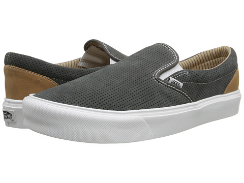 Vans - Slip-On Lite ((Trim) Charcoal/White) Men's Skate Shoes