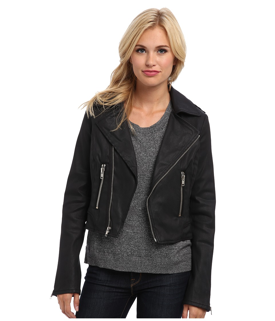 True Religion - Black Coated Moto Jacket (Black) Women's Coat