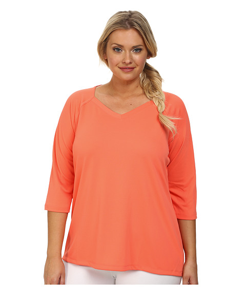 Columbia - Plus Size Skiff Guide 3/4 Sleeve Top (Coral Flame) Women