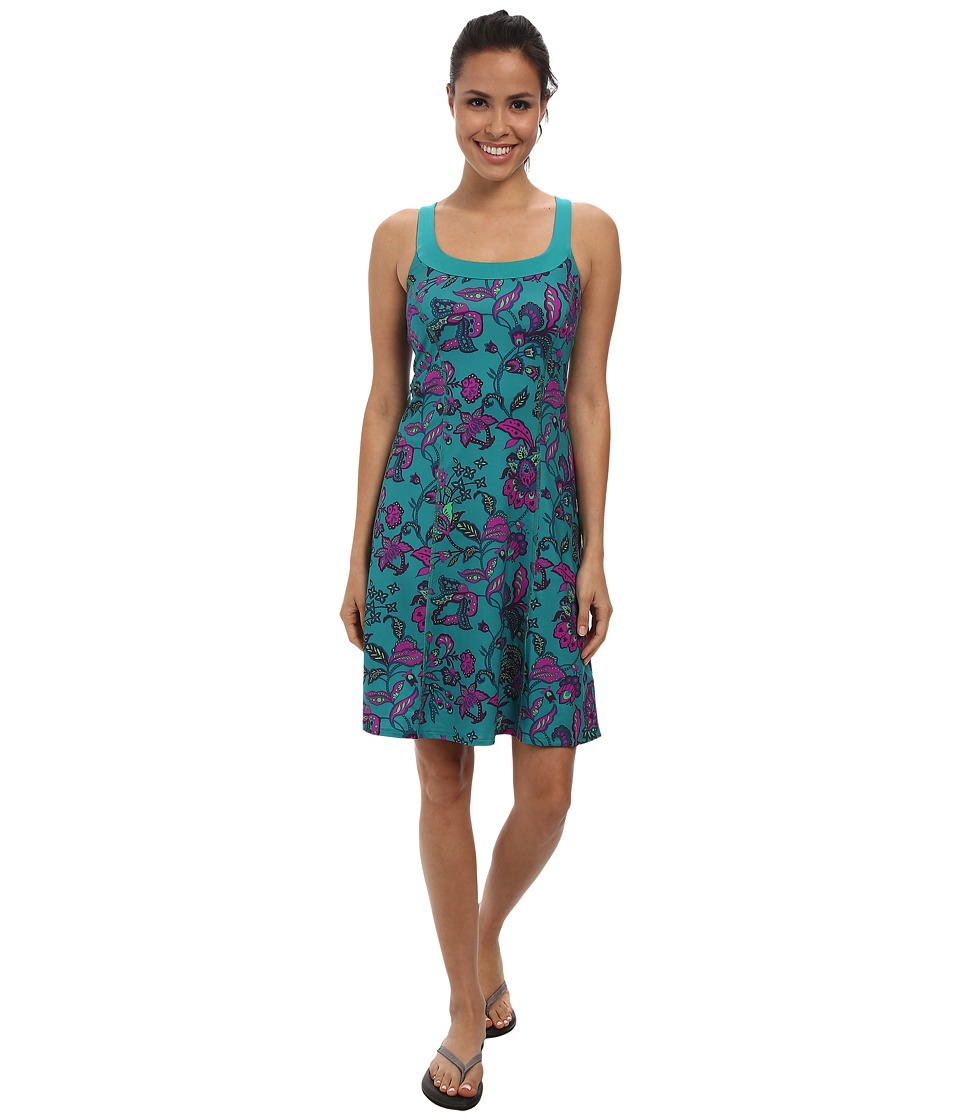 The North Face - Cypress Knit Dress (Teal Blue Print) Women's Dress