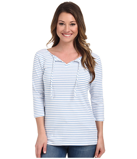 Columbia - Reel Beauty II 3/4 Sleeve Shirt (Harbor Blue Stripe) Women's T Shirt