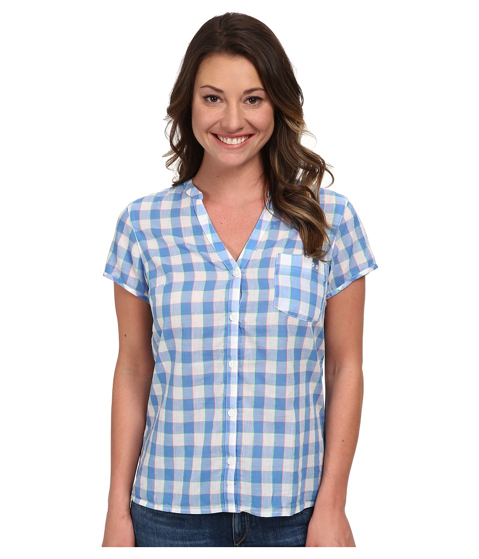 Columbia - Sun Drifter S/S Shirt (Harbor Blue Check) Women's Short Sleeve Button Up