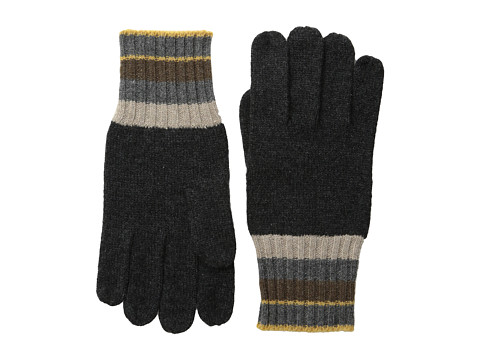 Culture Phit - Stripe Trimmed Cashmere Gloves (Charcoal Combo) Dress Gloves