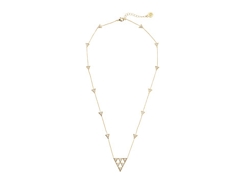 House of Harlow 1960 - Triangle Trellis Necklace (Gold Tone/Howlite Resin/Smokey Grey Pave) Necklace