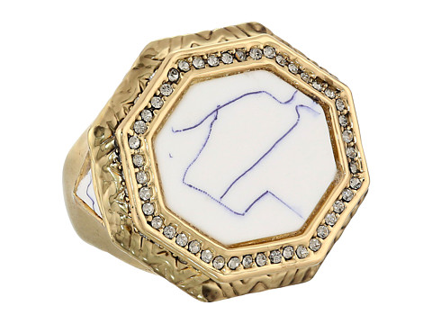 House of Harlow 1960 - Enlightening Octagon Cocktail Ring (Gold Tone/Howlite/Smokey Grey Pave) Ring