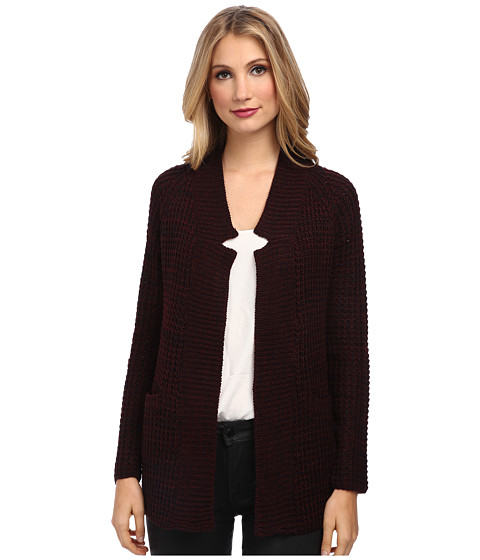 Brigitte Bailey - Fireside Knit Cardigan w/ Notch Collar (Burgundy/Black Twist) Women's Sweater