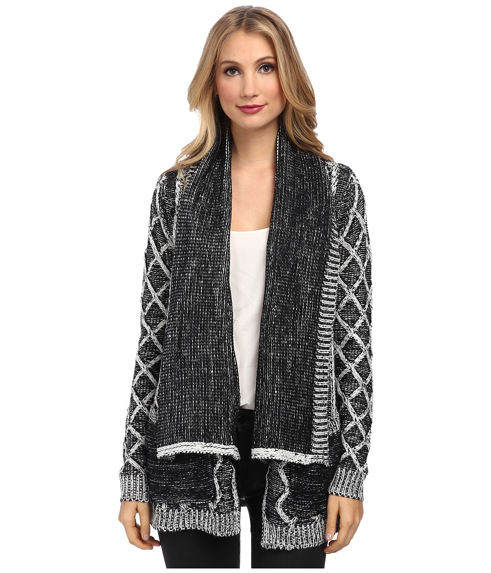 Brigitte Bailey - Candice Cable Knit Cardigan (Black/White) Women's Sweater