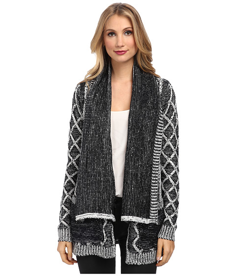 Brigitte Bailey - Candice Cable Knit Cardigan (Black/White) Women