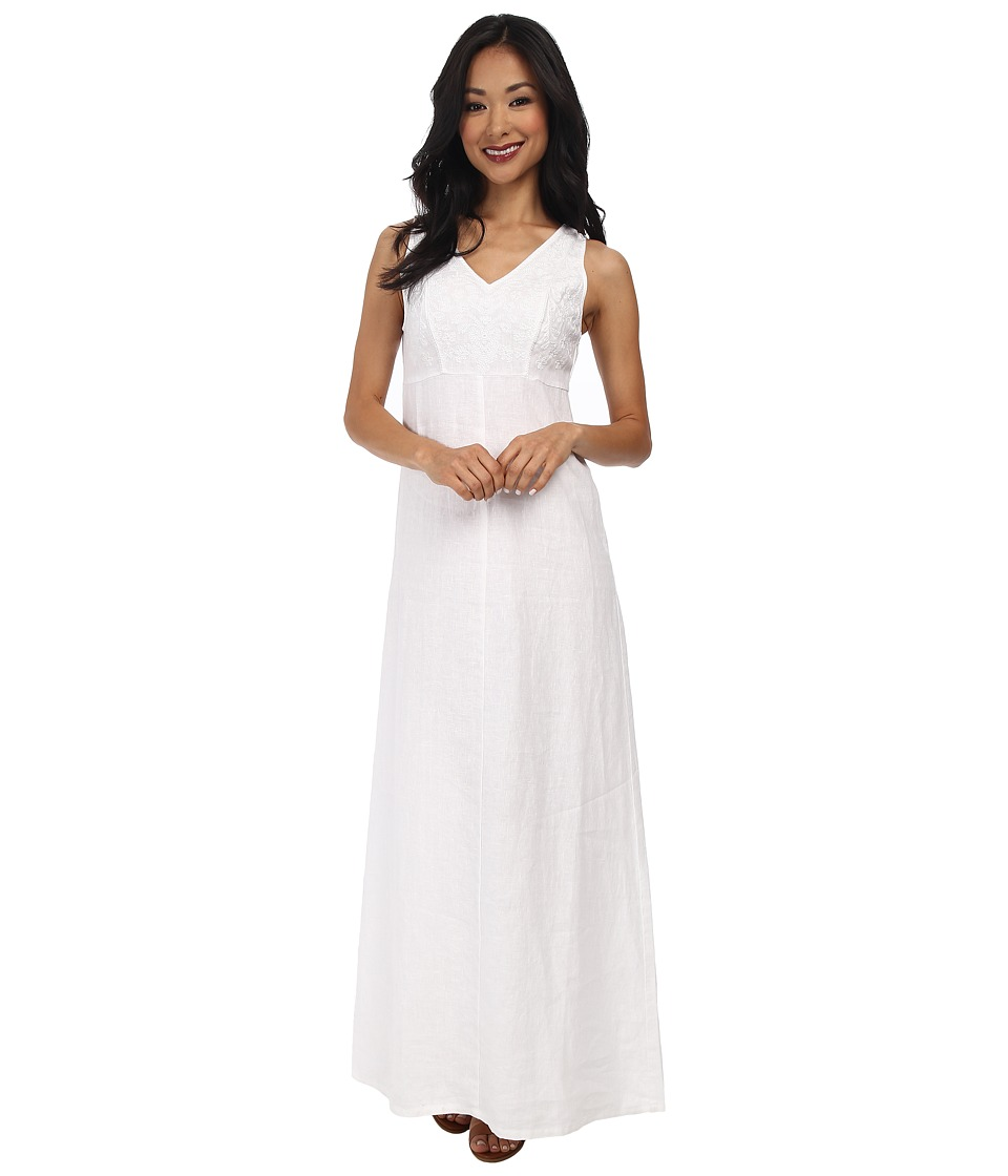 Tommy Bahama - Two Palms Linen Embellished V-Neck Maxi Dress (White) Women's Dress