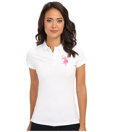 U.S. POLO ASSN. - Multi-tonal BP Polo (Optic White 1) Women's Short Sleeve Pullover