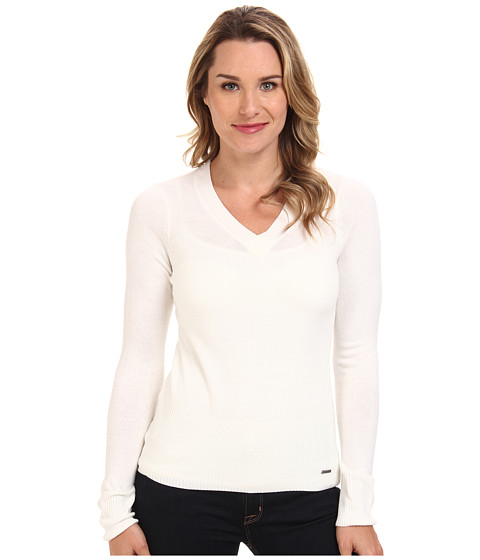 U.S. POLO ASSN. - Acrylic V-Neck Sweater (Winter White) Women