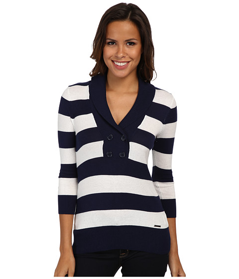 U.S. POLO ASSN. - Shawl Collar Stripe Sweater (Tribal Navy Combo) Women's Sweater
