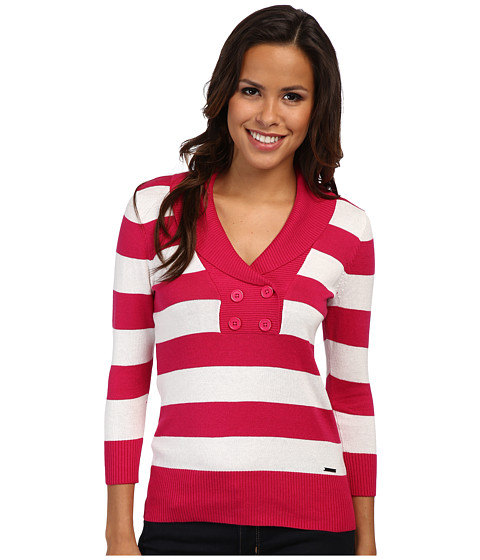 U.S. POLO ASSN. - Shawl Collar Stripe Sweater (Berry Bug Combo) Women
