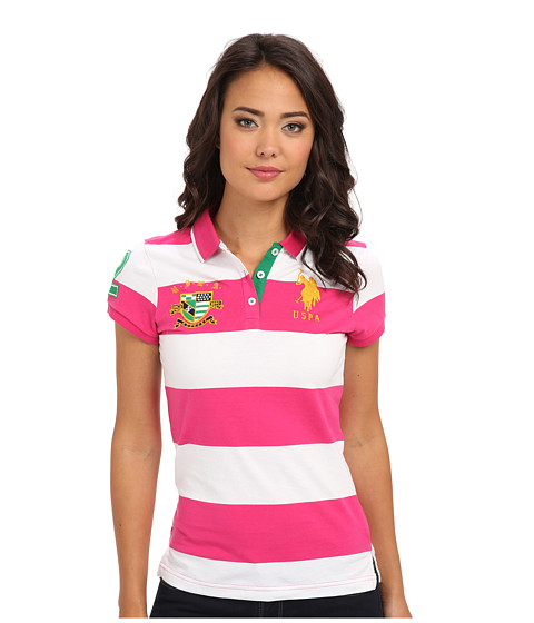 U.S. POLO ASSN. - Rugby Shield Polo Shirt (Pink Peak) Women's Short Sleeve Pullover