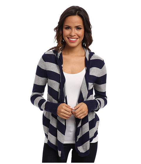 U.S. POLO ASSN. - Stripe Hoodie Open Sweater (Tribal Navy Combo) Women's Sweater