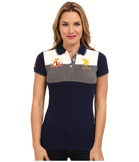 U.S. POLO ASSN. - Color Blocked Pique Polo (Tribal Navy) Women