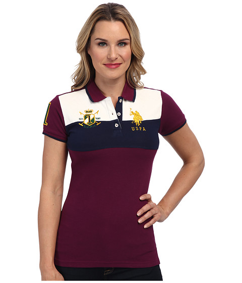 U.S. POLO ASSN. - Color Blocked Pique Polo (Wayward Plum) Women's Short Sleeve Pullover