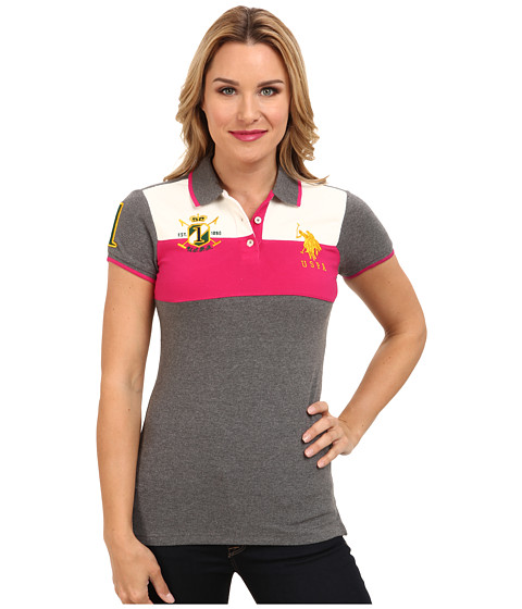 U.S. POLO ASSN. - Color Blocked Pique Polo (Heather Charcoal) Women's Short Sleeve Pullover