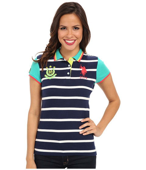 U.S. POLO ASSN. - Cotton Jersey Stripe Polo with Solid Short Sleeves (Tribal Navy) Women