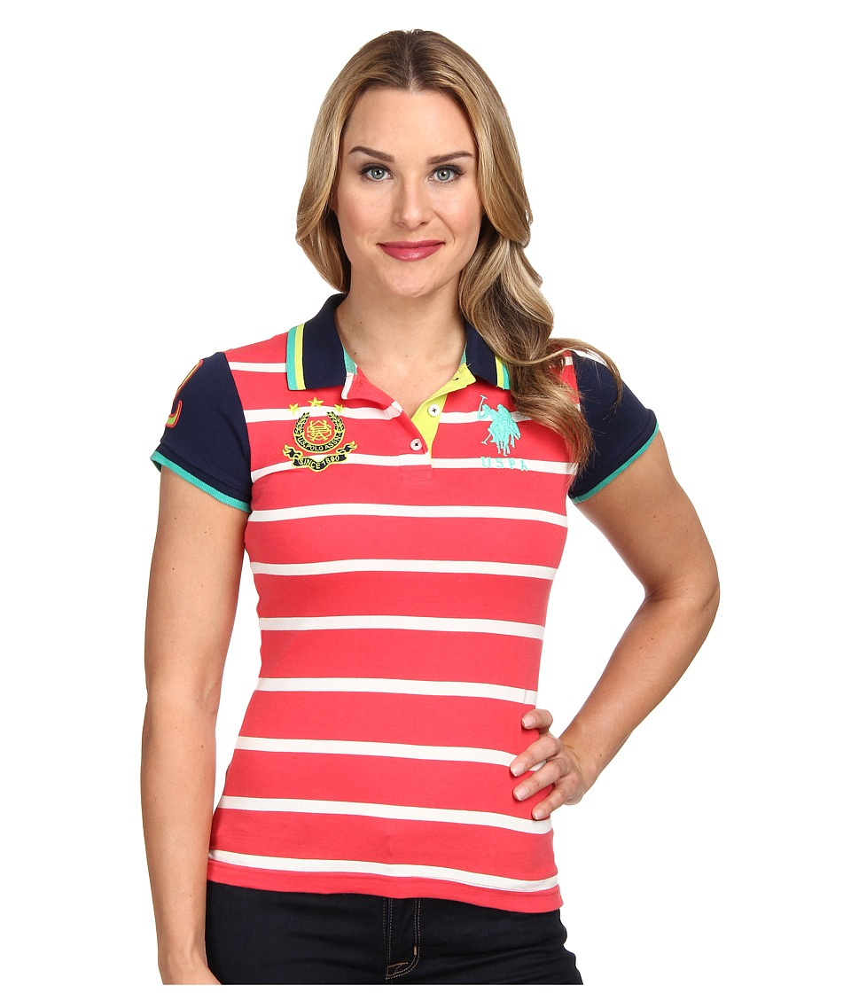 U.S. POLO ASSN. - Cotton Jersey Stripe Polo with Solid Short Sleeves (Cajun Coral) Women's Short Sleeve Pullover
