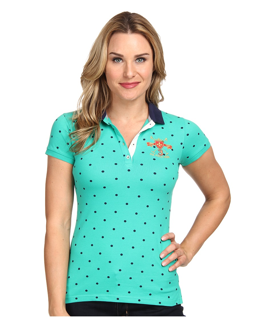 U.S. POLO ASSN. - Baby Pique Dotted Polo (Peacock Green) Women's Short Sleeve Pullover