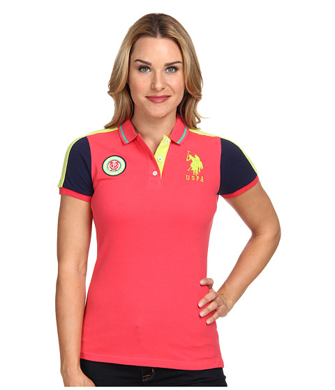 U.S. POLO ASSN. - Short Sleeve Color Block Pique Polo (Cajun Coral) Women