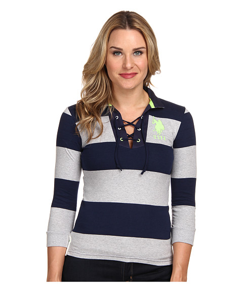 U.S. POLO ASSN. - Long Sleeve Wide Stripe Combed Jersey Cotton Grommet Polo (Heather Gray) Women's Long Sleeve Pullover
