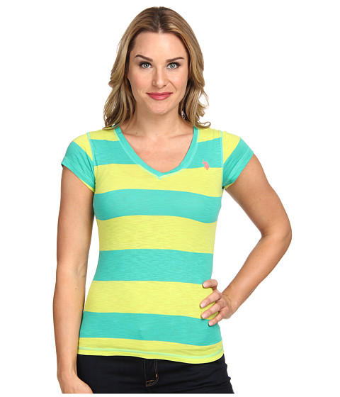 U.S. POLO ASSN. - Cotton Slub Short Sleeve V-Neck T-Shirt (Peacock Green) Women