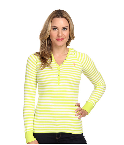 U.S. POLO ASSN. - Baby Rib Cotton Striped Pullover Hoodie (Spring Lime) Women