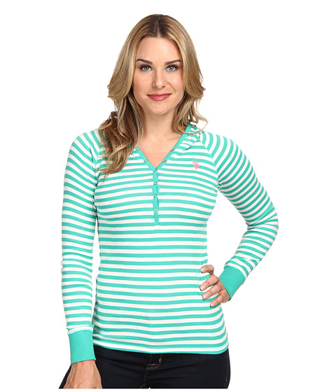 U.S. POLO ASSN. - Baby Rib Cotton Striped Pullover Hoodie (Peacock Green) Women's Long Sleeve Pullover