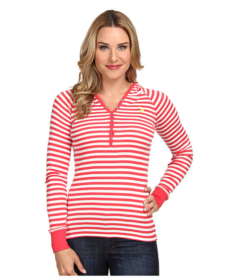 U.S. POLO ASSN. - Baby Rib Cotton Striped Pullover Hoodie (Cajun Coral) Women's Long Sleeve Pullover