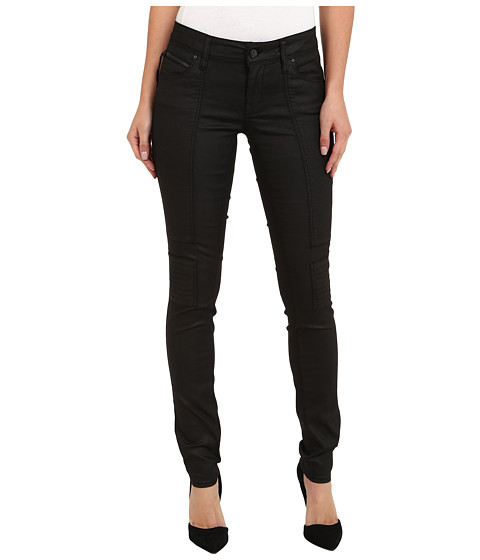 Mavi Jeans - Patrice Lowrise Patched Biker (Black Jeather) Women's Jeans