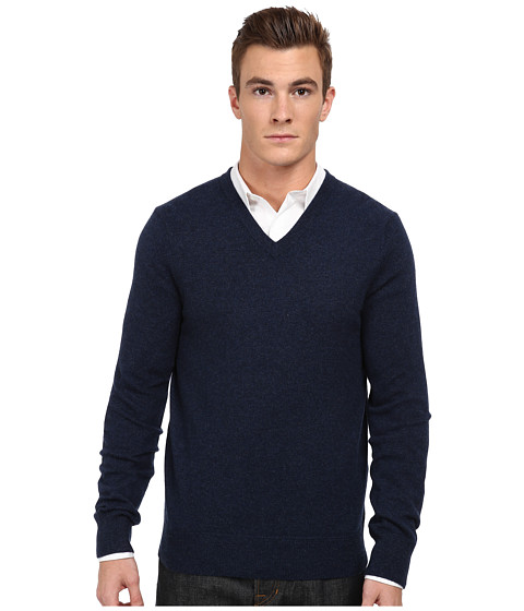 Vince - L/S V-Neck Sweater (Heather Militia) Men's Long Sleeve Pullover