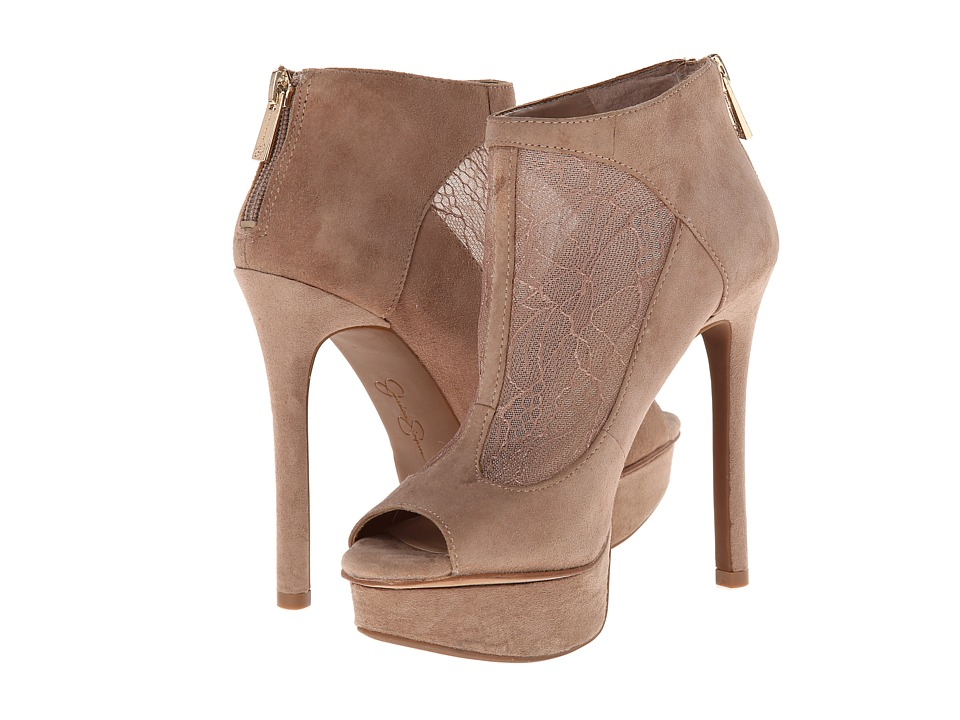 Jessica Simpson - Caiazzo (Totally Taupe Kid Suede Lace Overlay) High Heels