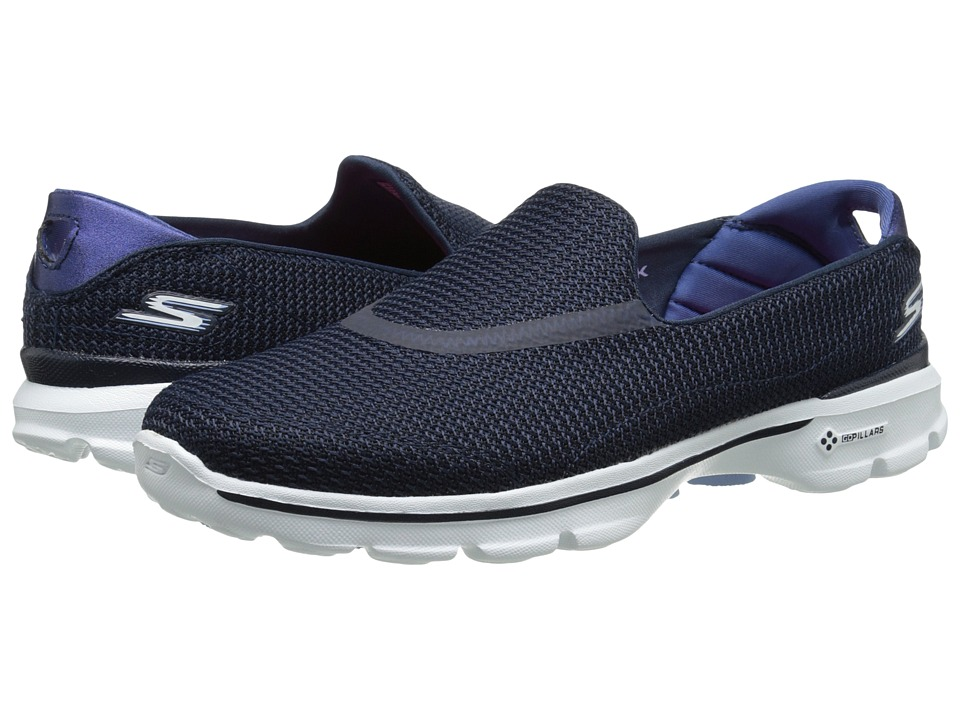 SKECHERS Performance - Go Walk 3 (Navy/White) Women's Flat Shoes