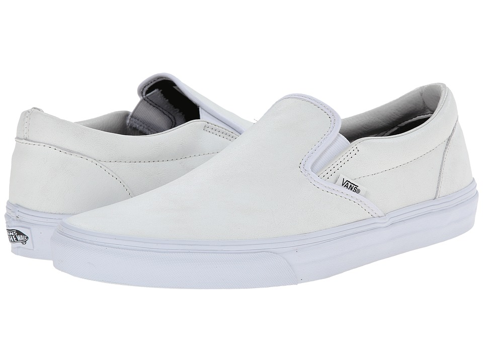 Vans - Classic Slip-On ((Crackle) Blanc de Blanc/Leather) Skate Shoes