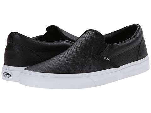 Vans - Classic Slip-On ((Emboss Weave) Black/Leather) Skate Shoes