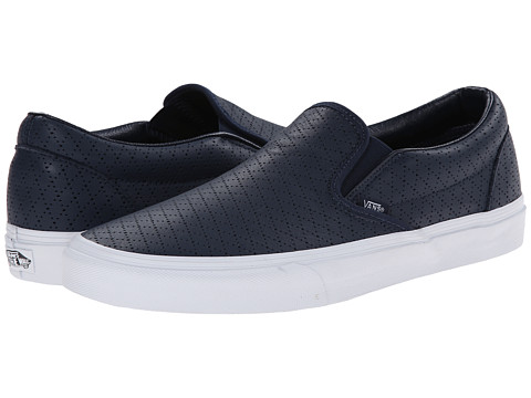 Vans - Classic Slip-On ((Diamond Perf) Dress Blues/Leather) Skate Shoes