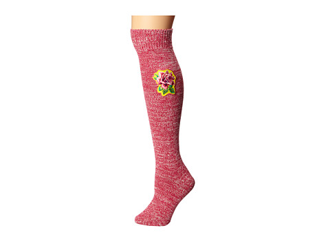 Betsey Johnson - Everything'S Coming Up Rose Slubby Bootsock (Rosey Pink) Women's Crew Cut Socks Shoes
