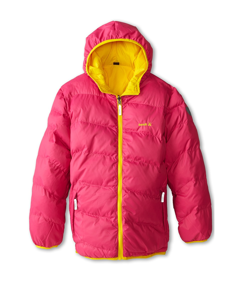 Kamik Kids - Cozy Reversible Downfilled Jacket (Toddler/Little Kids/Big Kids) (Lemon) Girl's Coat