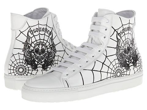 DSQUARED2 - Skull Star High Top Sneaker (White) Men