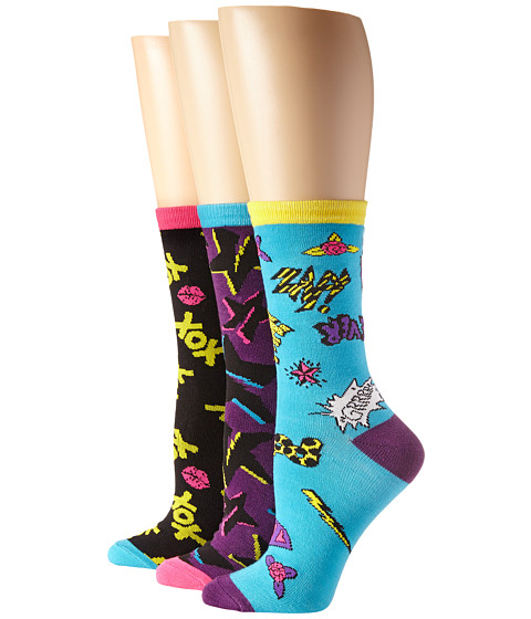 Betsey Johnson - XOX 3 Pack Crew Gift Box (Black/Purple/Turquoise) Women's Crew Cut Socks Shoes