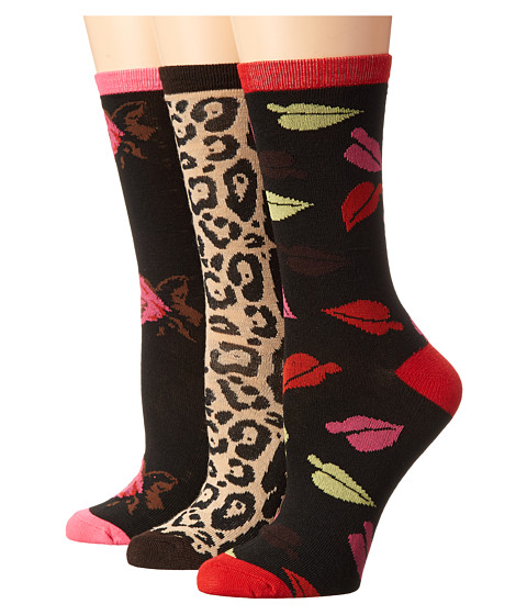 Betsey Johnson - Animal Love 3 Pack Crew Gift Box (Camel/Black/Rose) Women's Crew Cut Socks Shoes
