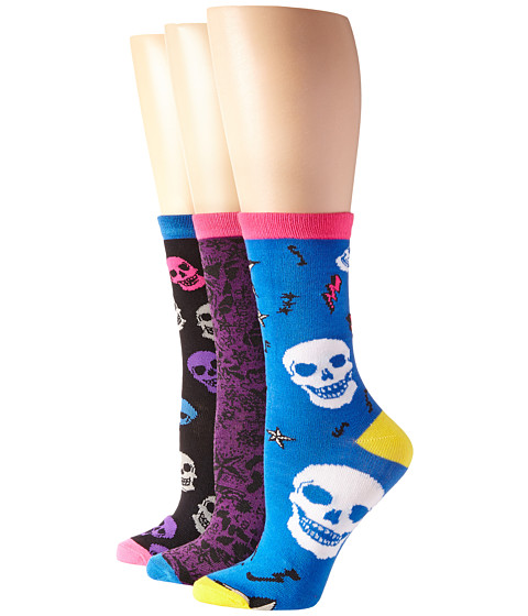 Betsey Johnson - Skulls Circus 3 Pack Crew Gift Box (Black/Indigo/Purple) Women