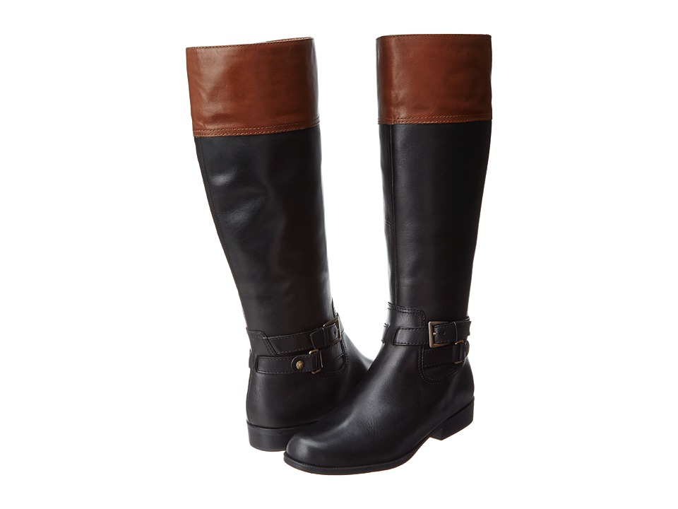 Anne Klein - Coldfeet (Black Leather/Brown Leather) Women's Cold Weather Boots