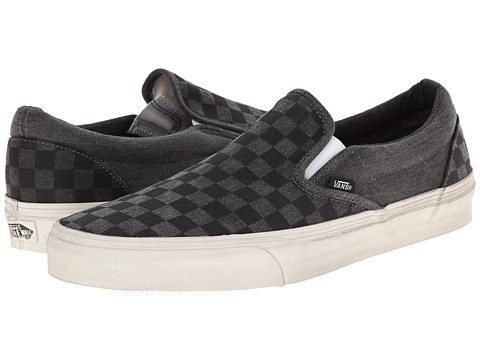 Vans - Classic Slip-On ((Overwashed) Black/Checker) Skate Shoes