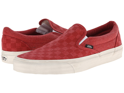 Vans - Classic Slip-On ((Overwashed) Tango Red/Checker) Skate Shoes