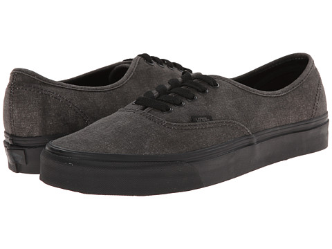 Vans - Authentic ((Washed) Black/Black) Skate Shoes
