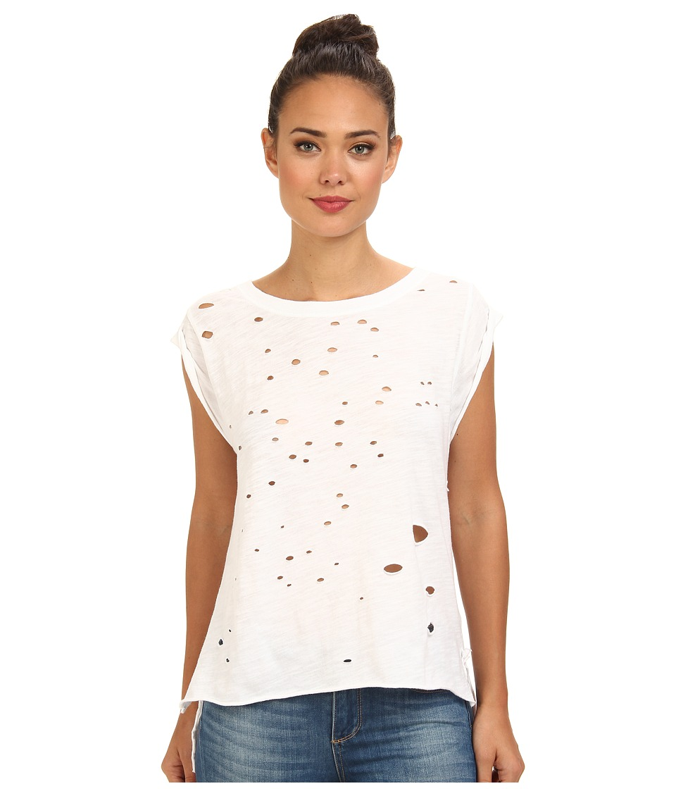 Free People - Shredded Tee (White) Women