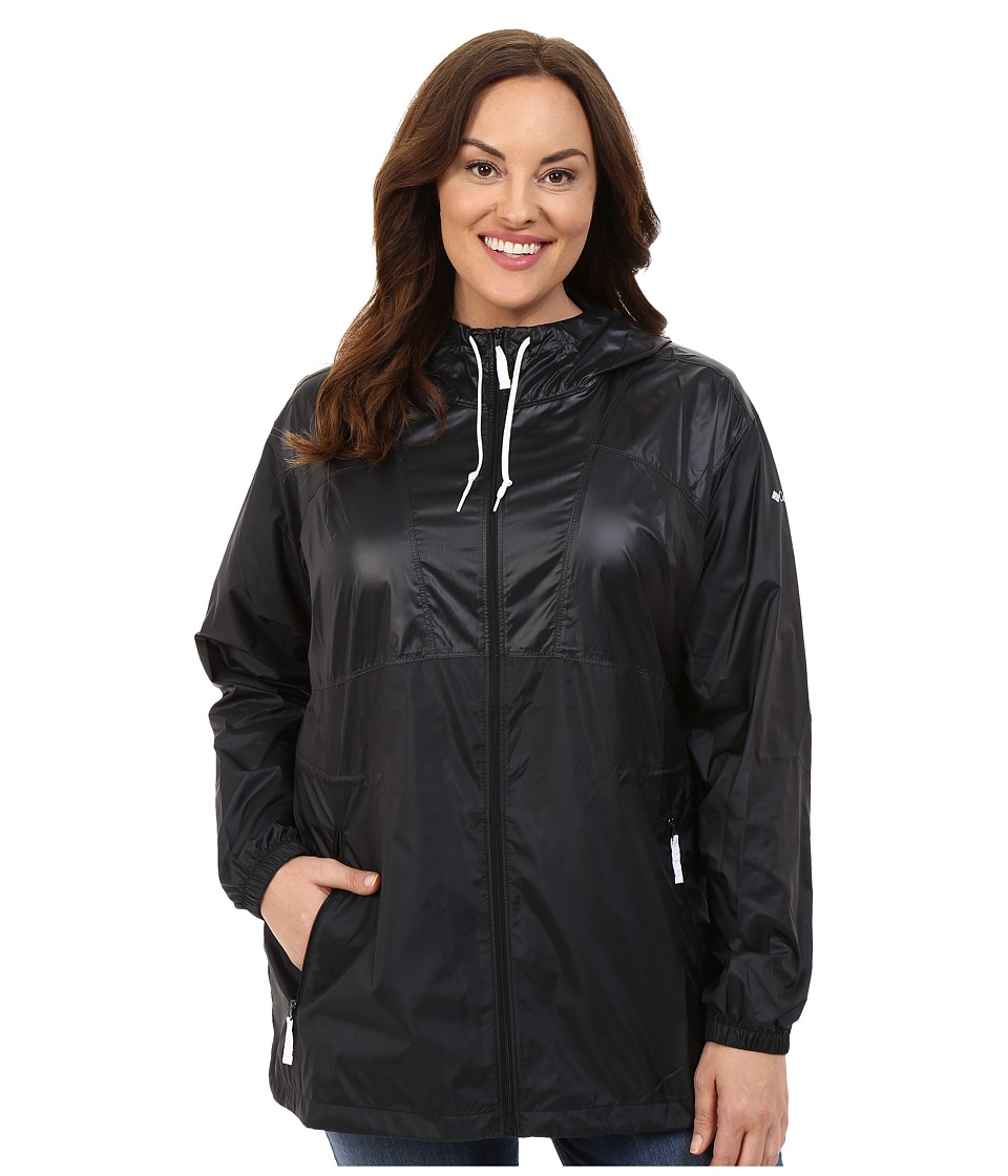 Columbia - Plus Size Flashback Windbreaker Long (Black Shiny/Black Matte/White) Women's Coat